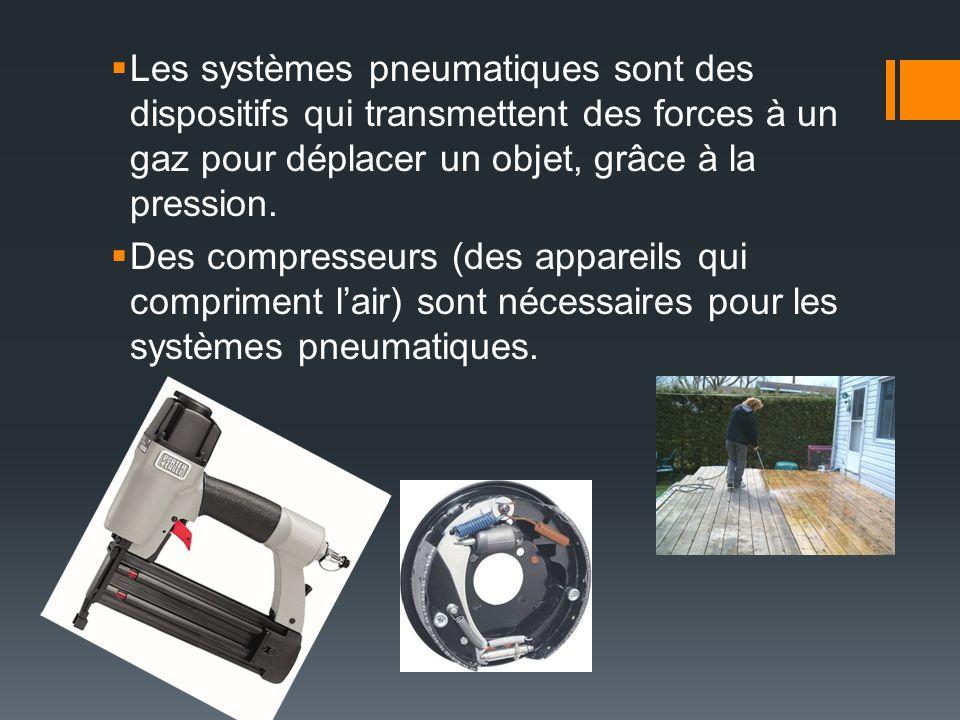 Les systèmes pneumatiques sont des dispositifs qui transmettent des forces à un gaz pour déplacer un objet, grâce à la pression.