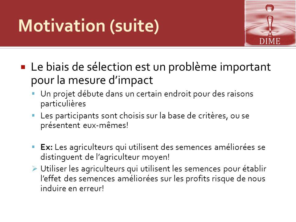 Motivation (suite) Le biais de sélection est un problème important pour la mesure d'impact.