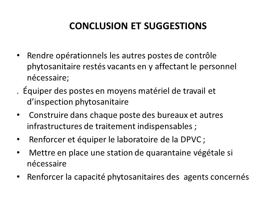 CONCLUSION ET SUGGESTIONS