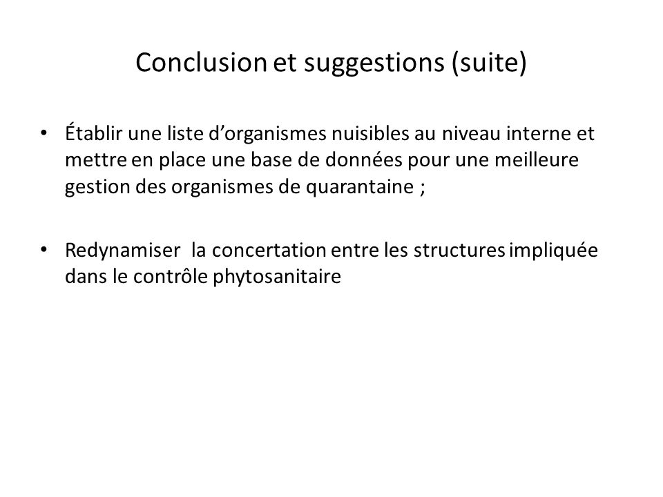 Conclusion et suggestions (suite)