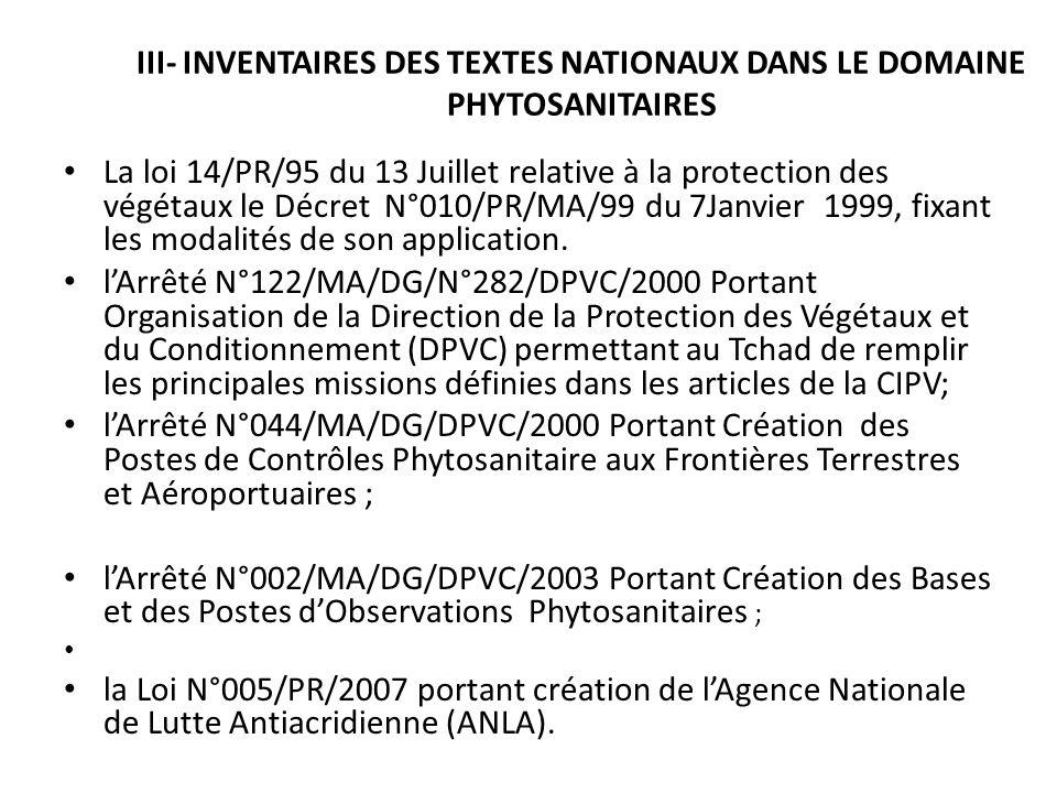 III- INVENTAIRES DES TEXTES NATIONAUX DANS LE DOMAINE PHYTOSANITAIRES