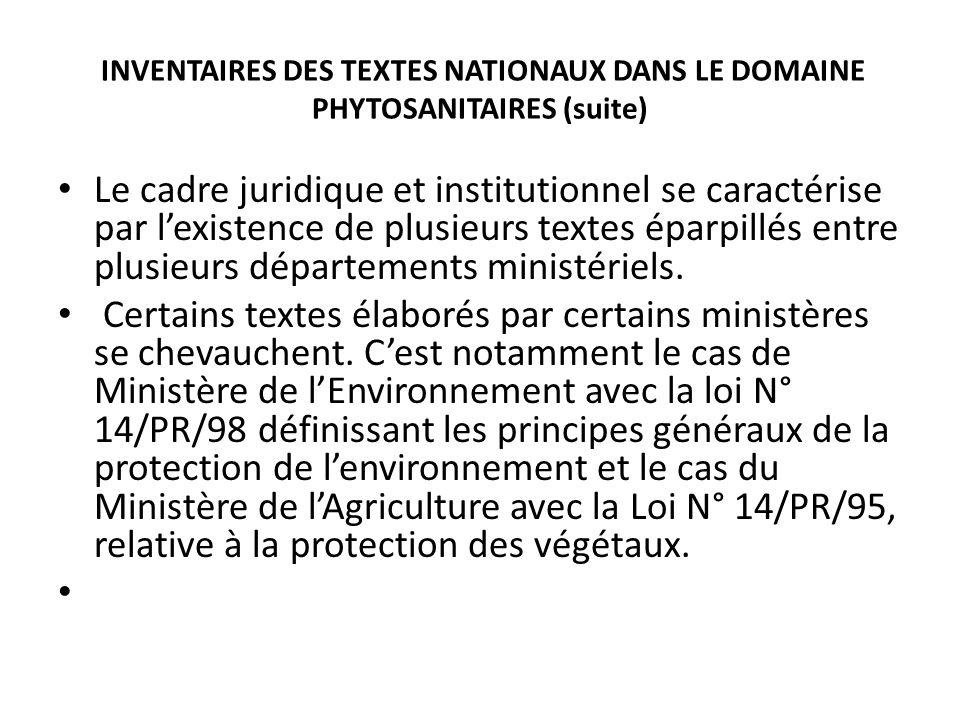 INVENTAIRES DES TEXTES NATIONAUX DANS LE DOMAINE PHYTOSANITAIRES (suite)