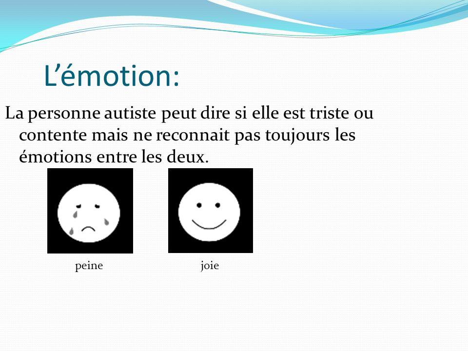 L'émotion:La personne autiste peut dire si elle est triste ou contente mais ne reconnait pas toujours les émotions entre les deux.