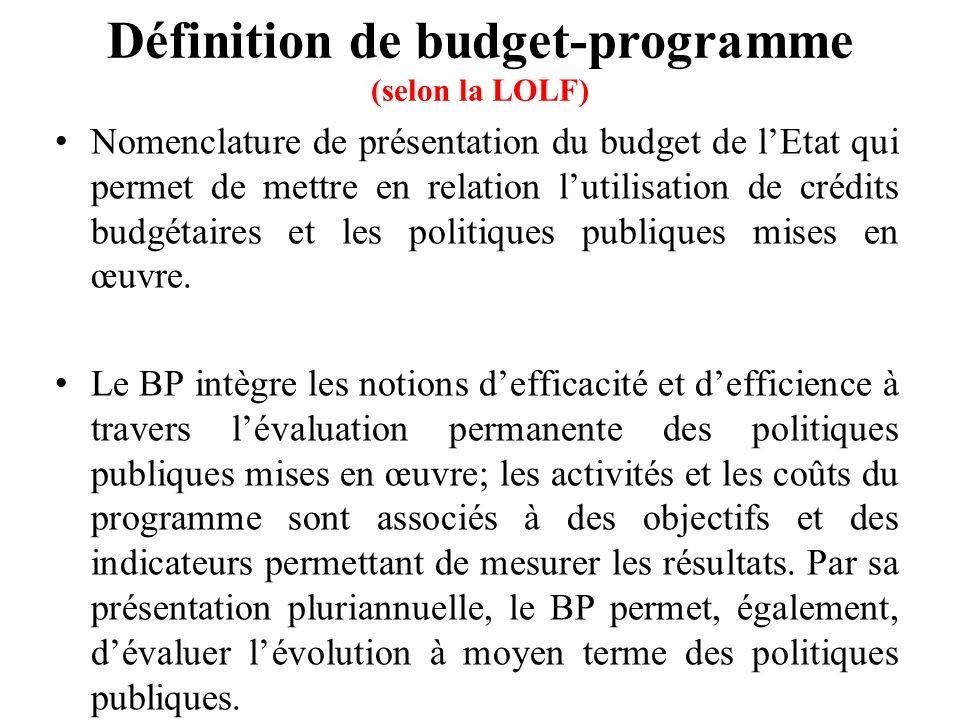 Définition de budget-programme (selon la LOLF)