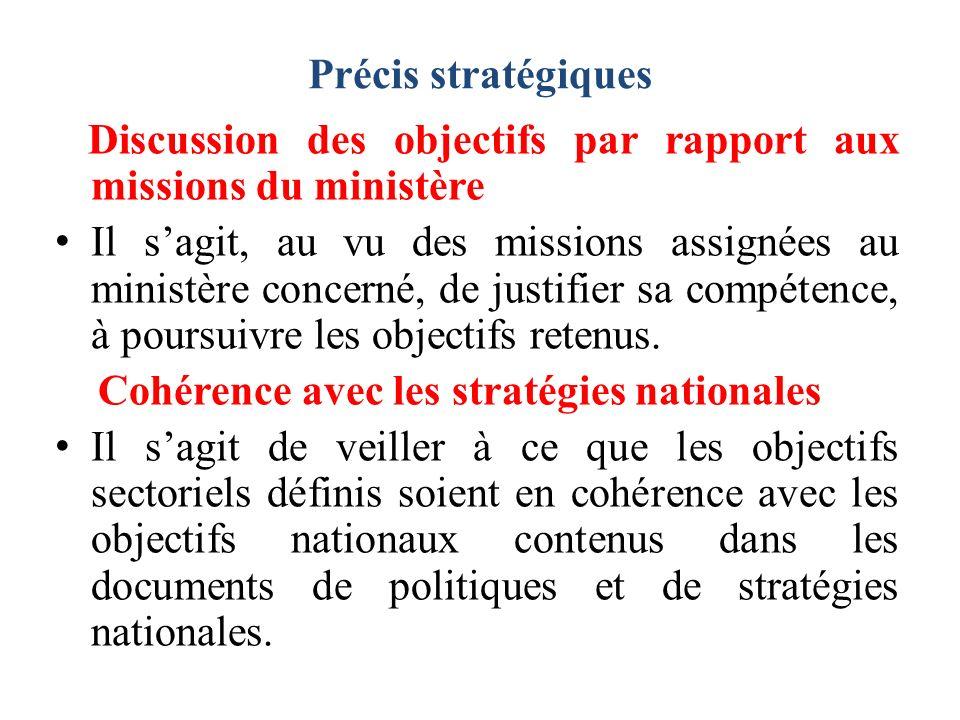 Précis stratégiques Discussion des objectifs par rapport aux missions du ministère.