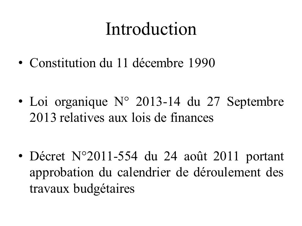Introduction Constitution du 11 décembre 1990