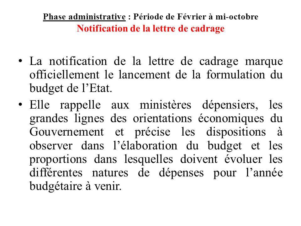 Phase administrative : Période de Février à mi-octobre Notification de la lettre de cadrage