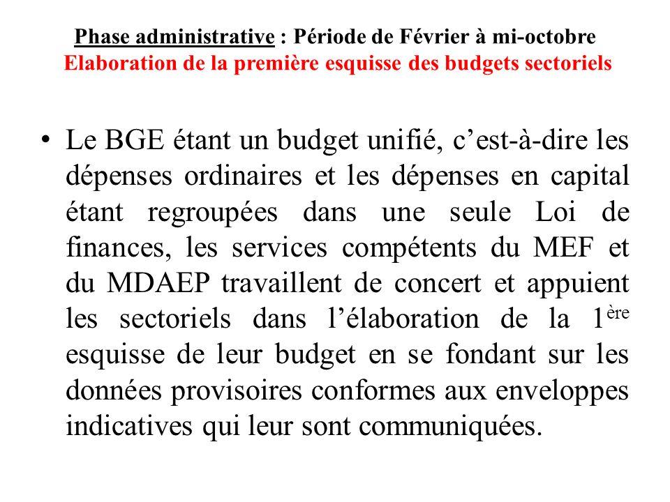 Phase administrative : Période de Février à mi-octobre Elaboration de la première esquisse des budgets sectoriels