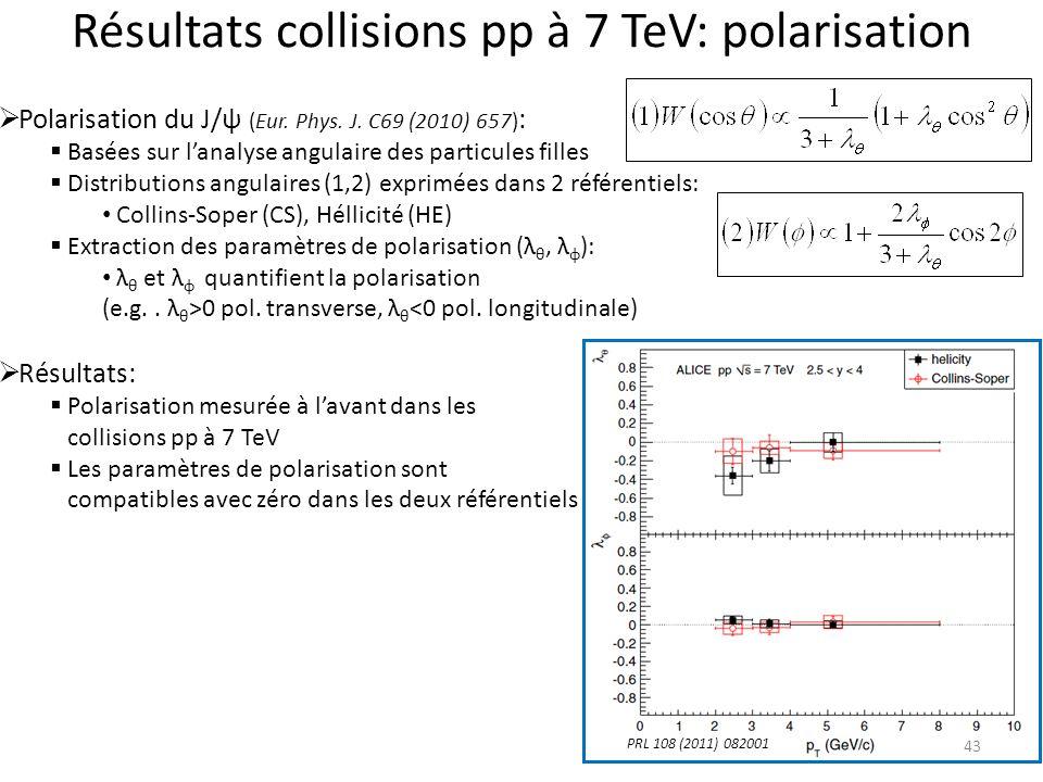 Résultats collisions pp à 7 TeV: polarisation