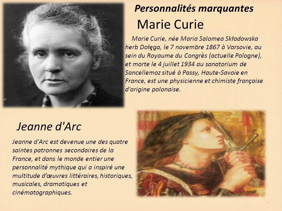 Marie Curie Jeanne d Arc Personnalités marquantes