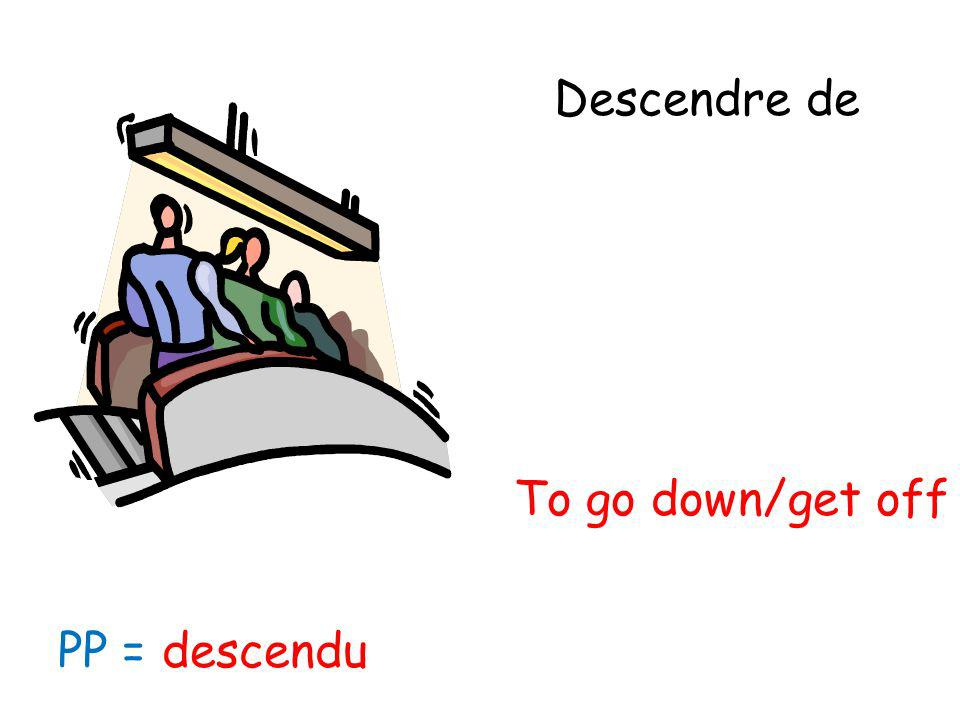 Descendre de To go down/get off PP = descendu