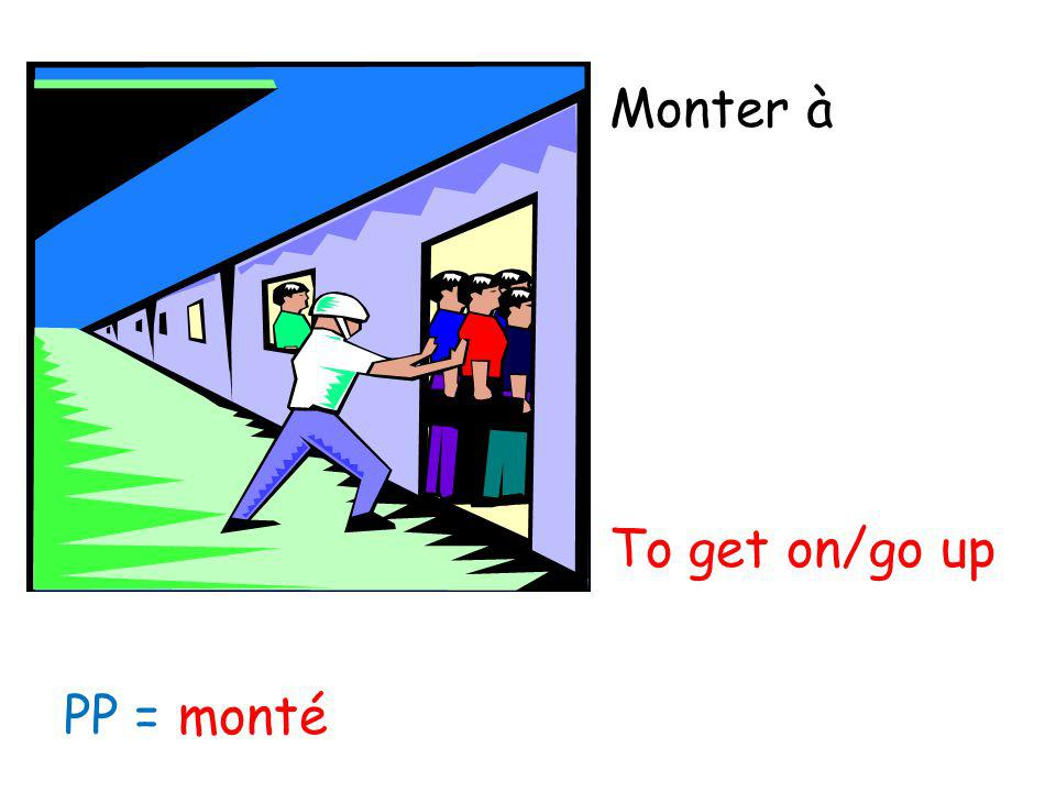 Monter à To get on/go up PP = monté