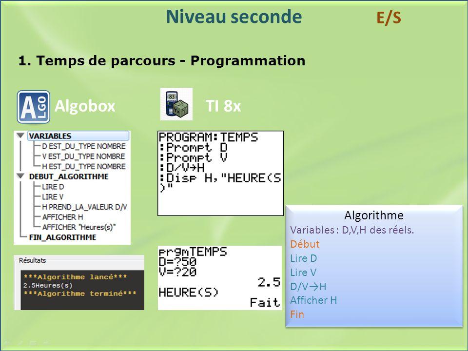 1. Temps de parcours - Programmation
