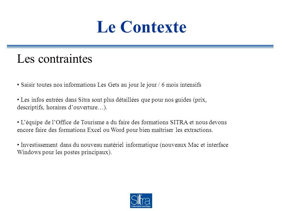 Le Contexte Les contraintes