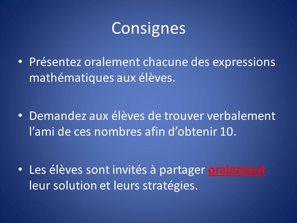 Consignes Présentez oralement chacune des expressions mathématiques aux élèves.