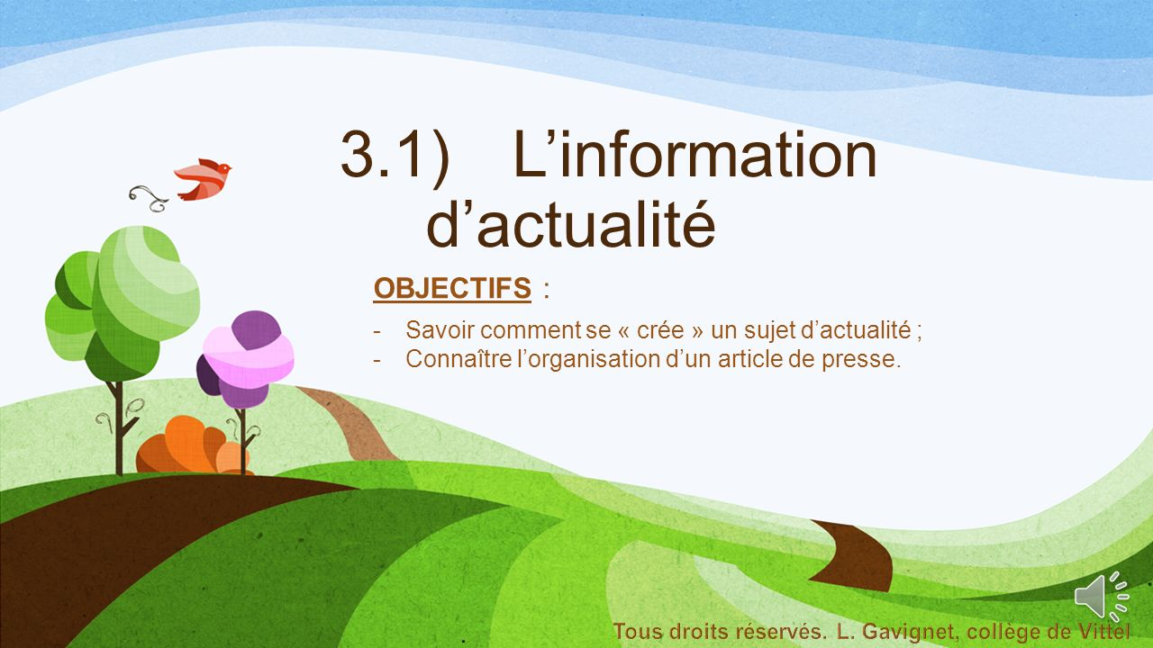 3.1) L'information d'actualité
