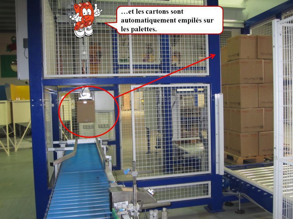 …et les cartons sont automatiquement empilés sur les palettes.