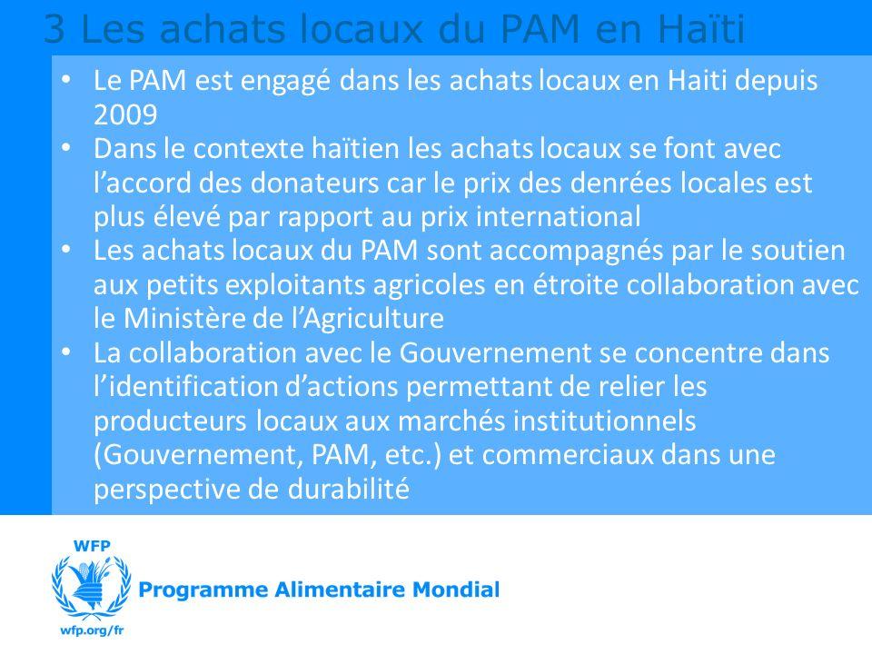 3 Les achats locaux du PAM en Haïti