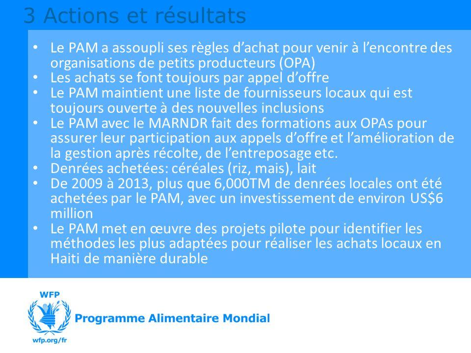 3 Actions et résultats Le PAM a assoupli ses règles d'achat pour venir à l'encontre des organisations de petits producteurs (OPA)