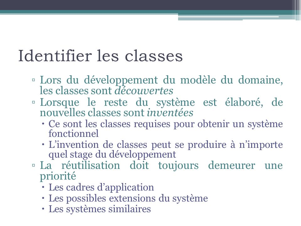 Identifier les classes