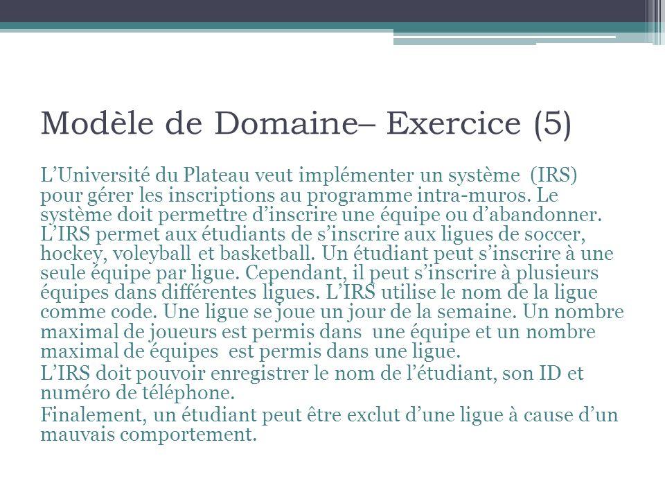 Modèle de Domaine– Exercice (5)