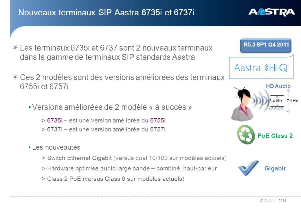 Nouveaux terminaux SIP Aastra 6735i et 6737i