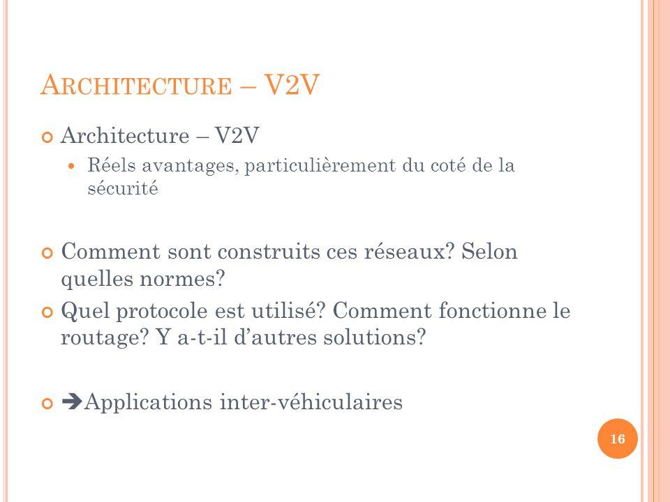 Architecture – V2V Architecture – V2V