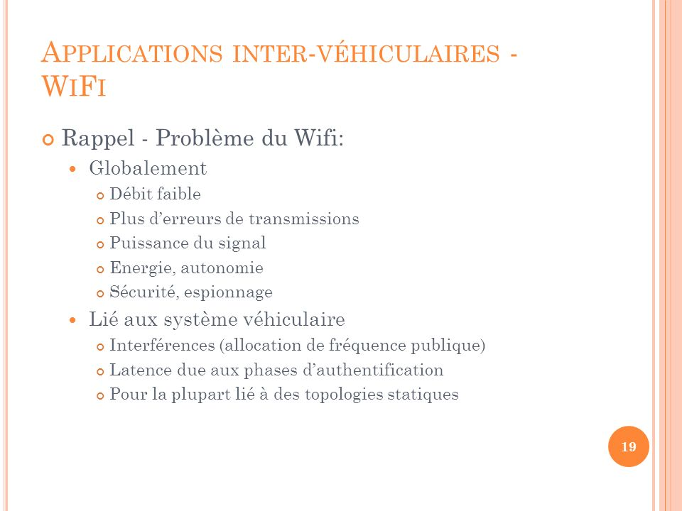 Applications inter-véhiculaires - WiFi