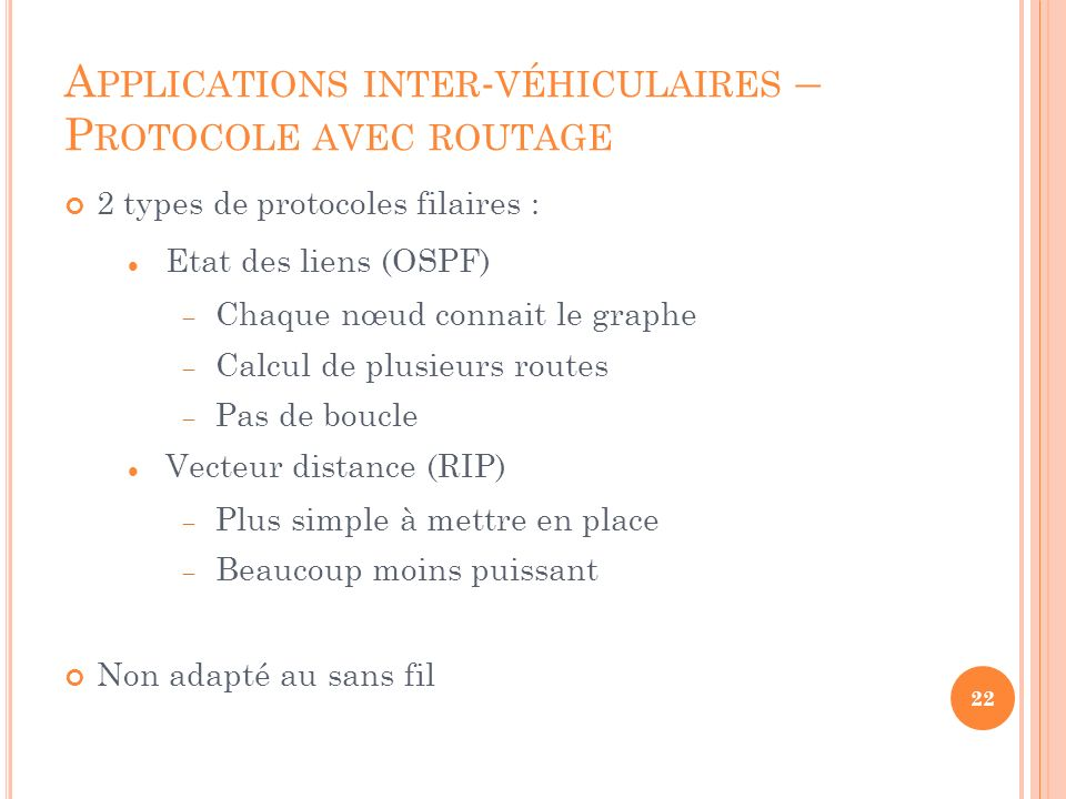 Applications inter-véhiculaires – Protocole avec routage