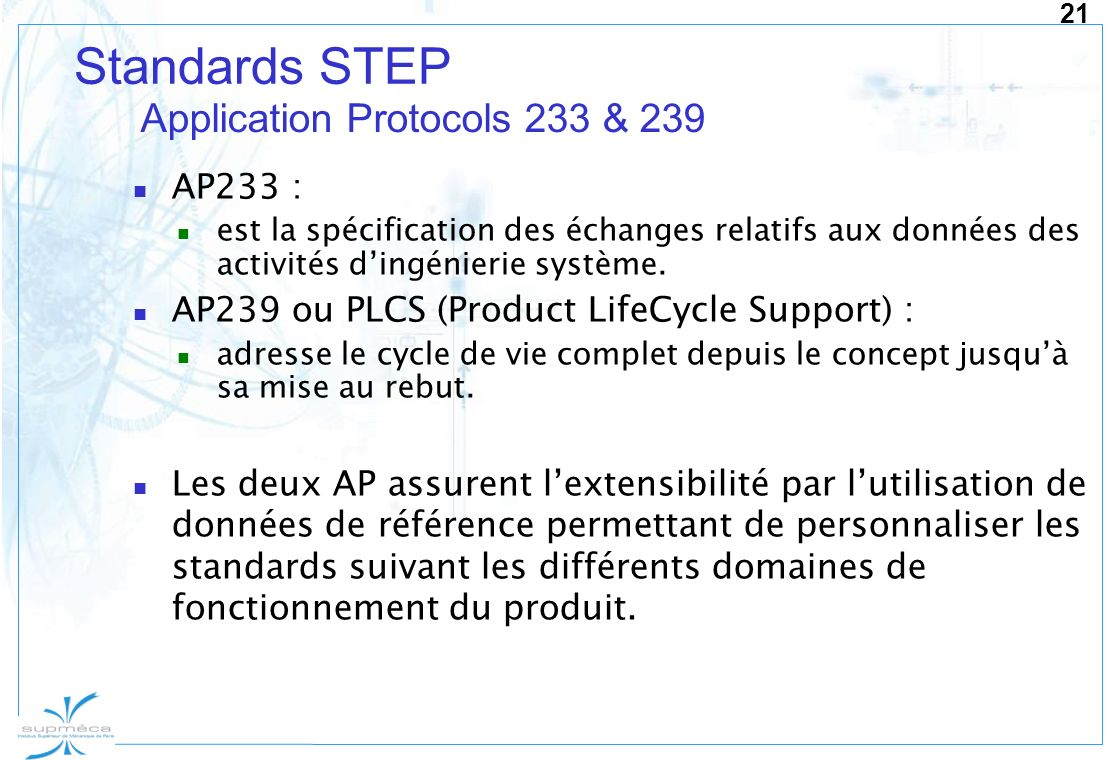 Standards STEP Application Protocols 233 & 239 AP233 :