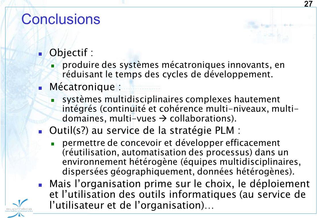 Conclusions Objectif : Mécatronique :
