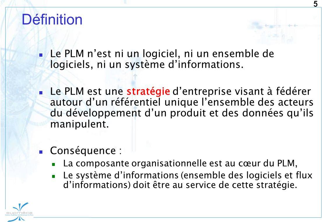 Définition Le PLM n'est ni un logiciel, ni un ensemble de logiciels, ni un système d'informations.