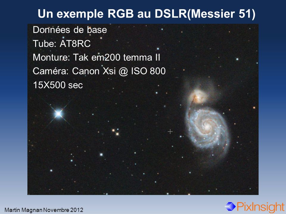 Un exemple RGB au DSLR(Messier 51)