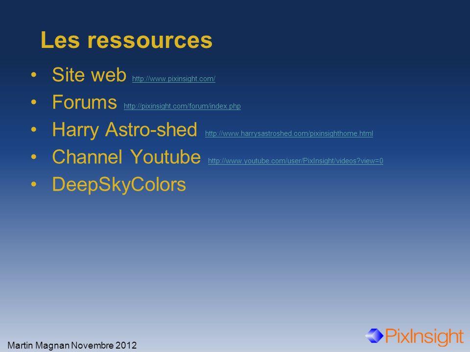 Les ressources Site web http://www.pixinsight.com/