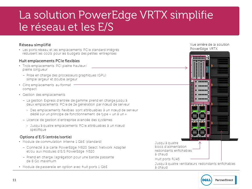 La solution PowerEdge VRTX simplifie le réseau et les E/S