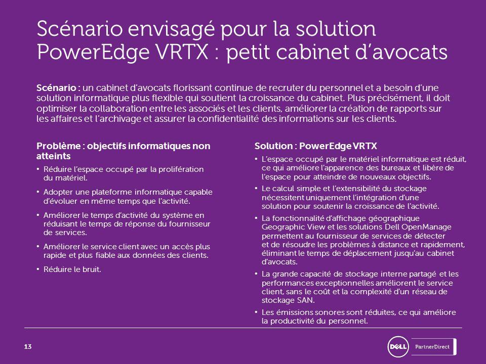 Scénario envisagé pour la solution PowerEdge VRTX : petit cabinet d'avocats
