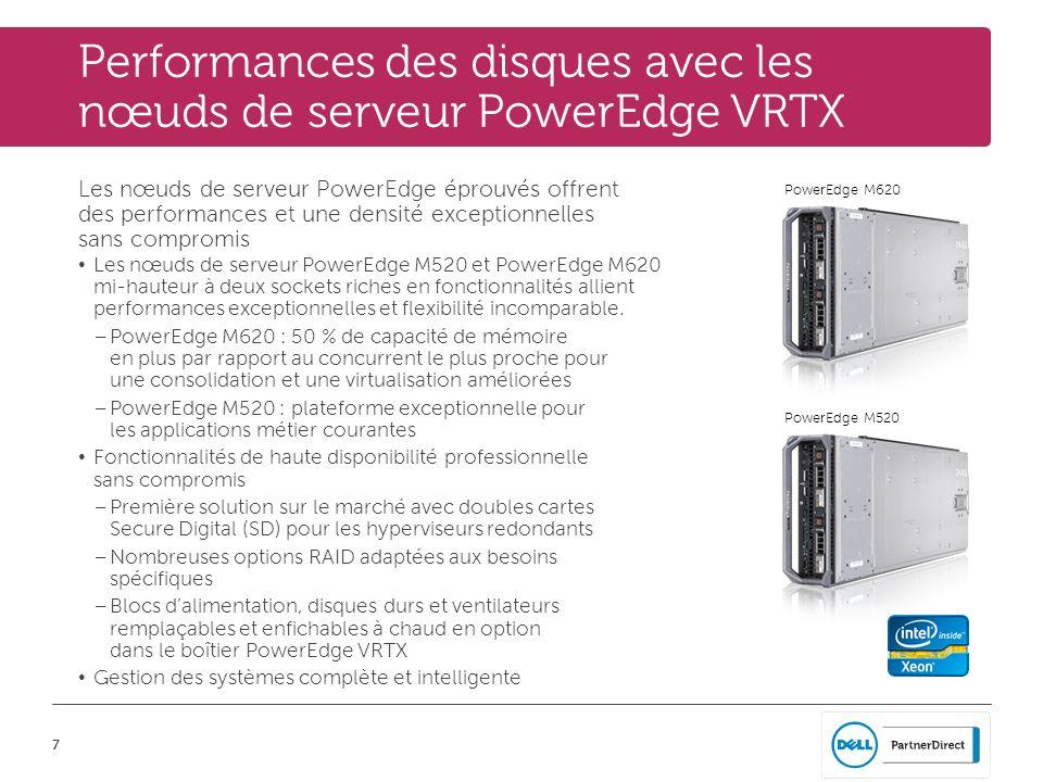 Performances des disques avec les nœuds de serveur PowerEdge VRTX