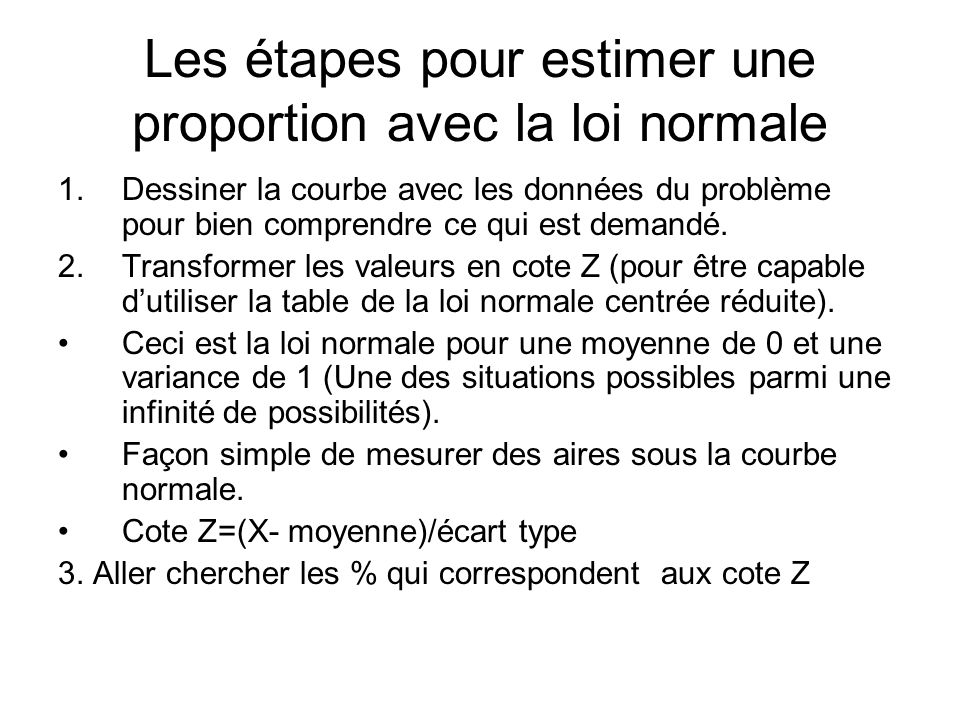 La loi normale et l estimation de param tres ppt t l charger for Table z loi normale
