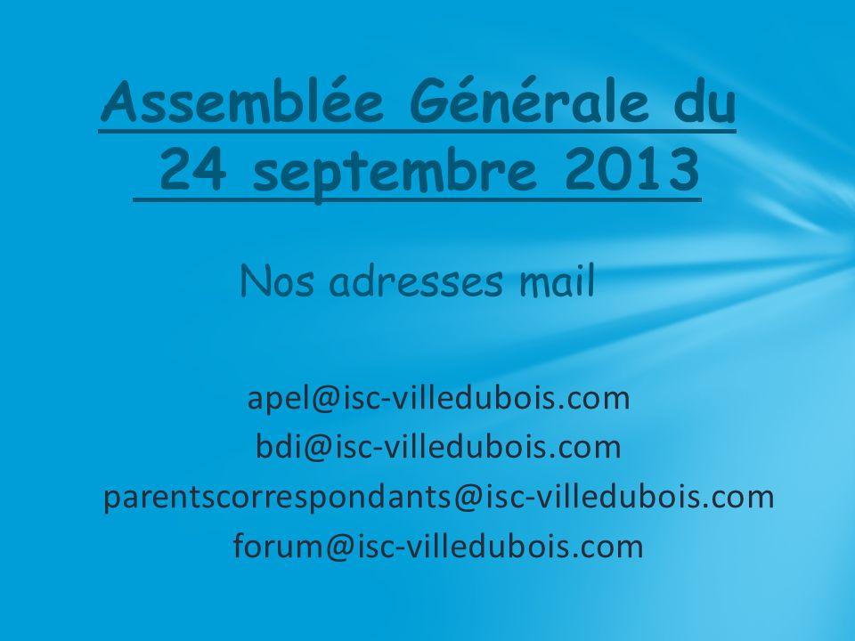 Assemblée Générale du 24 septembre 2013 Nos adresses mail