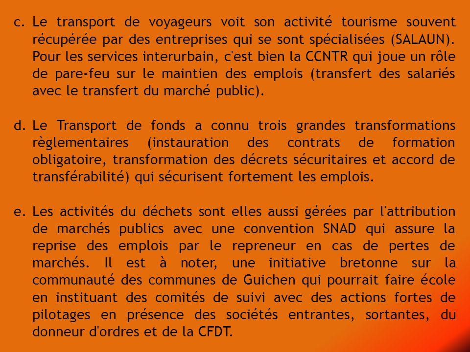 c. Le transport de voyageurs voit son activité tourisme souvent récupérée par des entreprises qui se sont spécialisées (SALAUN). Pour les services interurbain, c est bien la CCNTR qui joue un rôle de pare-feu sur le maintien des emplois (transfert des salariés avec le transfert du marché public).