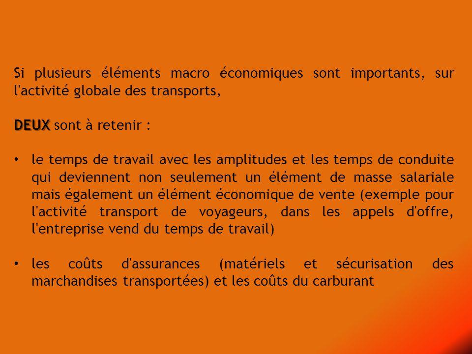 Si plusieurs éléments macro économiques sont importants, sur l activité globale des transports,