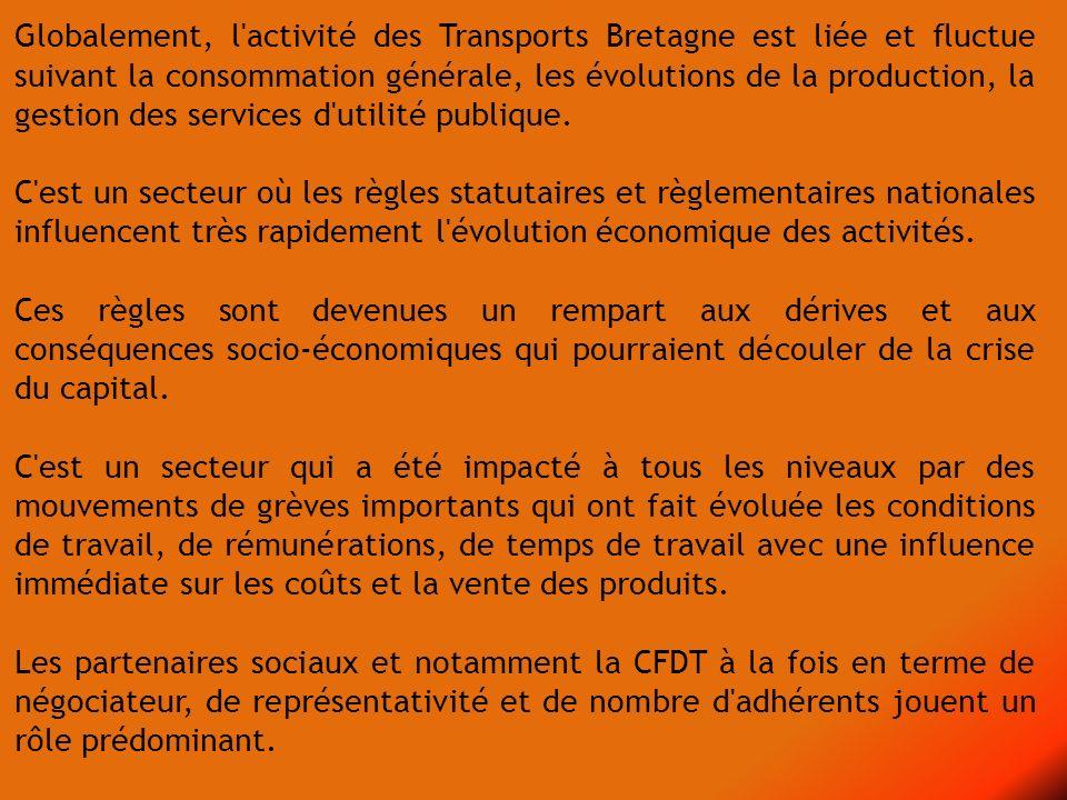 Globalement, l activité des Transports Bretagne est liée et fluctue suivant la consommation générale, les évolutions de la production, la gestion des services d utilité publique.