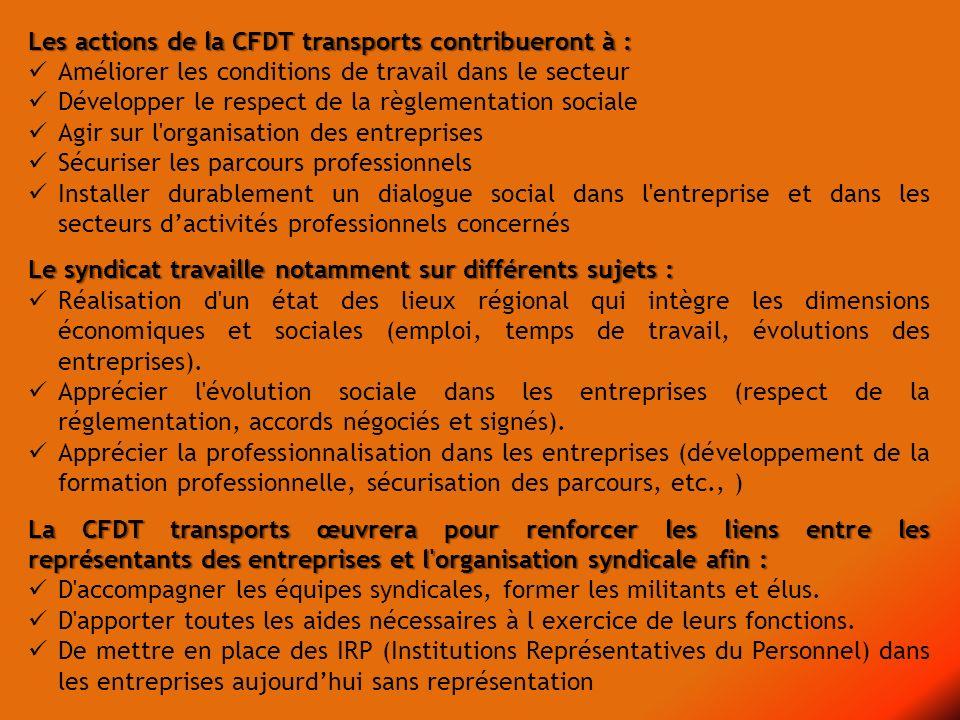 Les actions de la CFDT transports contribueront à :