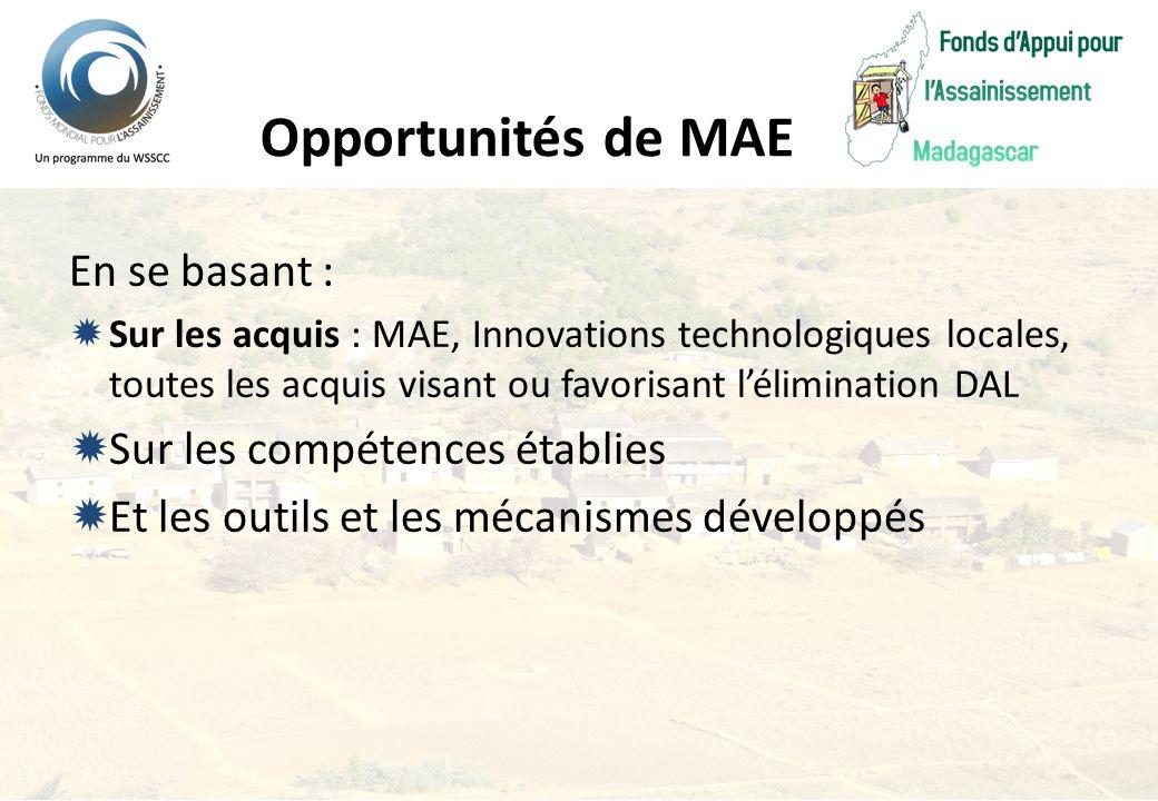 Opportunités de MAE En se basant : Sur les compétences établies