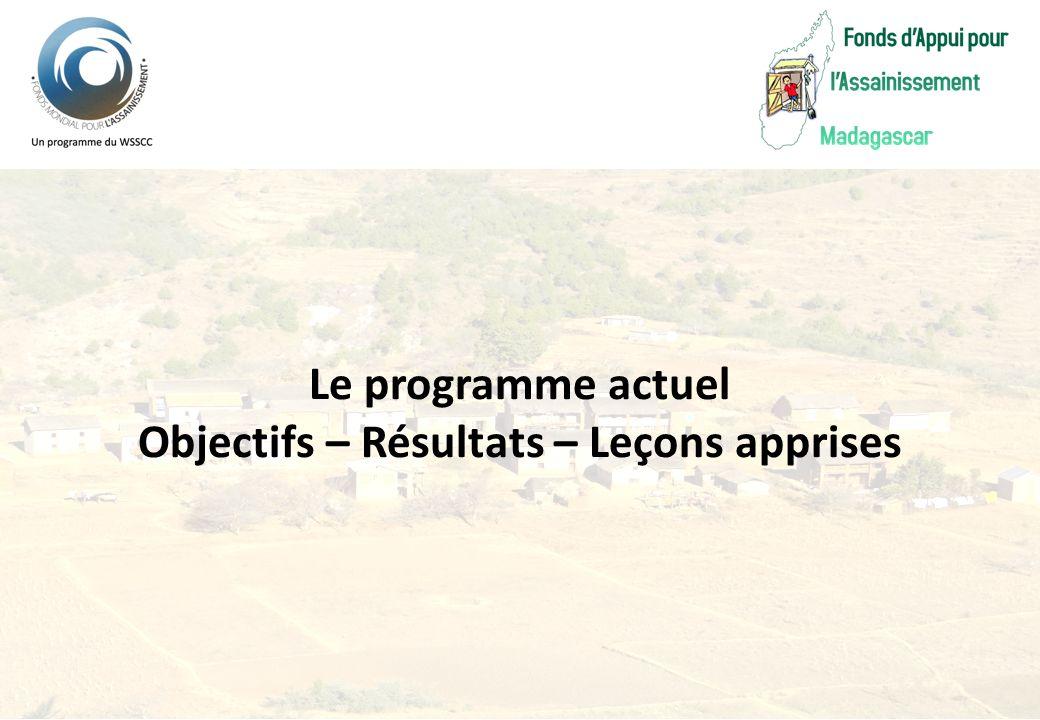 Le programme actuel Objectifs – Résultats – Leçons apprises