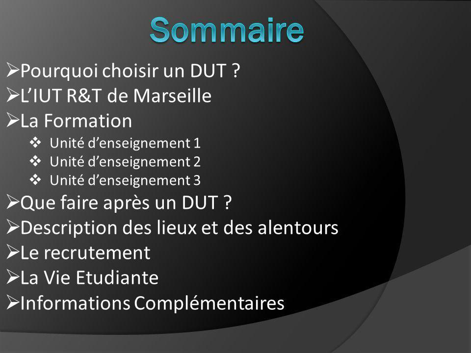 Sommaire Pourquoi choisir un DUT L'IUT R&T de Marseille La Formation