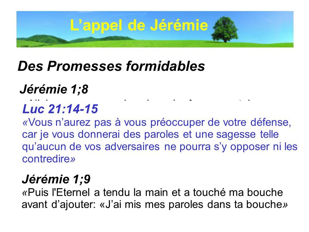 L'appel de Jérémie Des Promesses formidables Jérémie 1;8