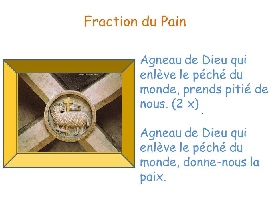 Fraction du Pain Agneau de Dieu qui enlève le péché du monde, prends pitié de nous. (2 x)