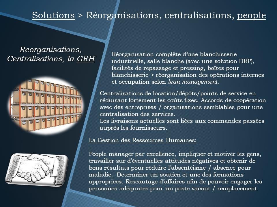 Reorganisations, Centralisations, la GRH