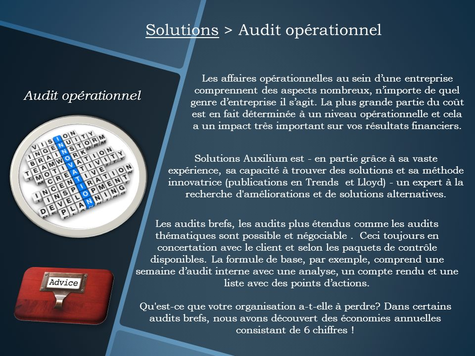 Solutions > Audit opérationnel